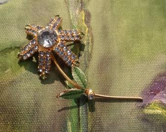 Vintage gold blue crystals floral brooch