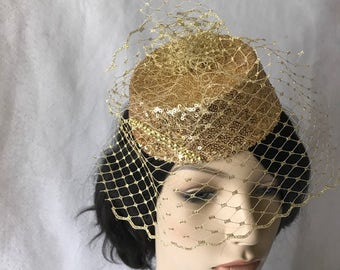 Gold Fascinator Hat with Gold Birdcage veil, Gold Kentucky Derby Fascinator, Gold Wedding Fascinator, Gold Mini Pillboxhat, Tea Party Hat