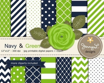 50% OFF Navy Blue and Green Digital Paper,  Lime Rose Flower Clipart for Wedding, Bridal Baby Shower, Birthday, Digital Scrapbooking, Invite