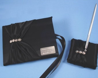 Personalized Black Wedding Guest Book and Pen Set with Swarovski Crystals and Professional Engraving