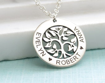 Gift for Mom • Engraved Tree of Life Pendant •  Custom Name Necklace •  Family Jewelry • Mom Necklace •  Kids Names • Gift for Grandma