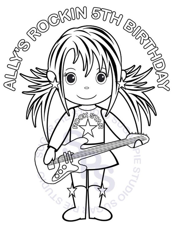 Personalized Printable Rockstar Birthday Party Favor childrens