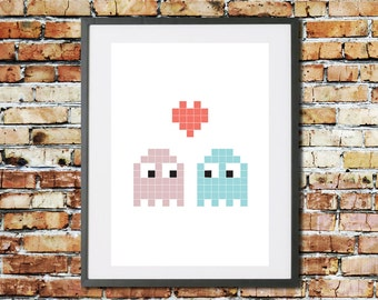 Wedding - Engagement - Anniversary - Valentines - Gift - Pac Man - Print - Retro Gaming - Home Decor - Valentines Day - For Her - For Him