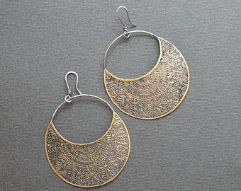 Brass mandala earrings, brass crescent earrings, etched brass, silver and brass, handmade artisan jewelry