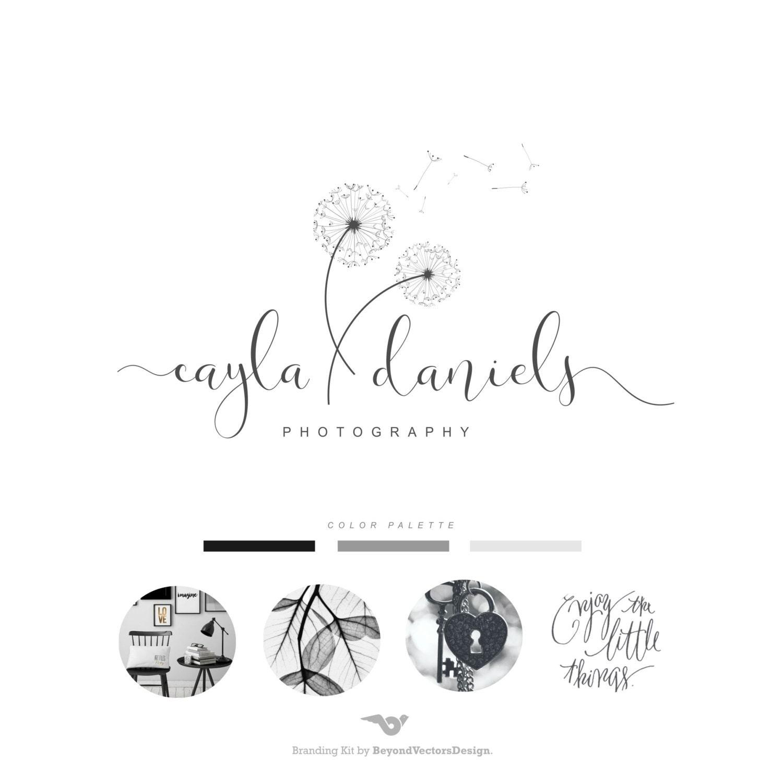 Dandelion Logo Photography Logo Premade Logo Wedding Logo