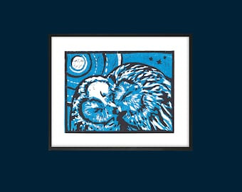 Printable Linocut Art | Owl Always Love You | Modern Wall Art | dark blue | Home Decor | Scandi | Instant download |