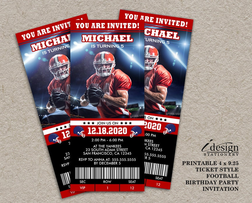 American Football Birthday Party Ticket Invitation Printable