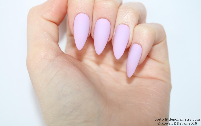 Stiletto nails Matte pastel purple stiletto nails Fake
