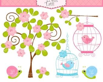 ON SALE Bird clip art -  Digital clip art, Birdcage and flowers tree, tree clip art, Birds clip art, flowers clip art, birdcage clipart, sna