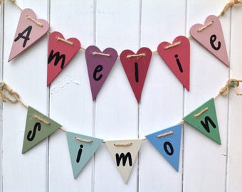 Personalised bunting, wooden bunting, handpainted bunting, heart bunting, flag bunting, name bunting, childrens bunting