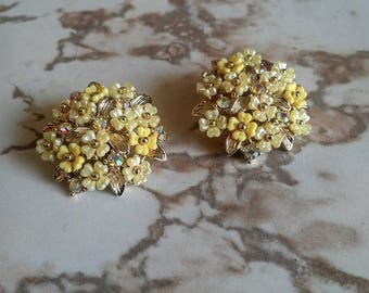 Pakula Rhinestone Flower Clip-On Earrings