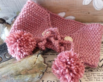 Limited Edition hand knitted kids headband wool old rose