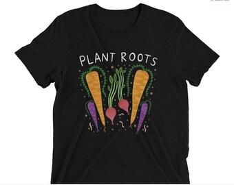 Plant Roots - Unisex Tri Blend - XS, S, M, L, XL, 2X, 3X - plants, garden, roots veggies, carrots
