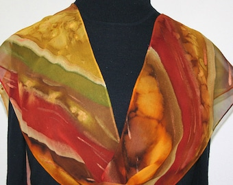 Brown Orange Hand Painted Silk Scarf SMILING FOREST, in 3 SIZES. Silk SCarves Colorado. Christmas Gift, Birthday Gift, Mother's Day Gift