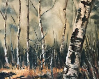 Original pastel painting of birch trees in a misty sunlit forest painted by Wendy Johnston