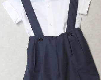 Suspenders' shorts with matching shirt