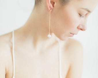 Long Pearl Stud Earrings, Gifts for Her, Pearl Earrings, Gold Earrings