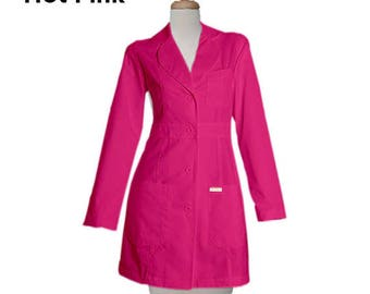 Free Shipping Pink Color Lab Coat in 34 inches Length Customize Lab Coat Women Coat Nurse Coat Lab Coat Costume Black Coat Personalized lab