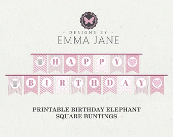 Printable Pink Elephant Birthday Square Bunting, Party Printables, Instant Download, Elephant Party Decorations, 1st 2nd 3rd 4th Birthday