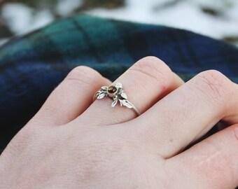 Elfen Zitrin Ring Sterling Silber Blättchen