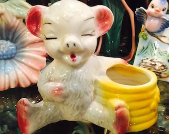 Shawnee Anthropomorphic Bear with Bee Hive Planter made in America circa 1950s