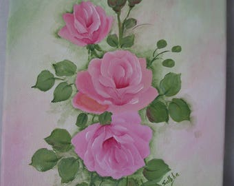 Hand Painted 8 by 10 Canvas Pink Roses Art Original Painting Wall Art Decor