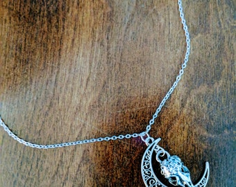 Raven Skull and Moon Necklace