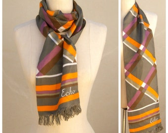 Vintage ECHO scarf / SILK / 50s 60s geometric print scarf / bold orange purple gray / long oblong, with tag
