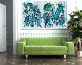 Large Abstract Painting, ORIGINAL Painting, Abstract Art, Acrylic Ink Painting, Blue Green Teal White Painting, Whimsical Art, Line Painting