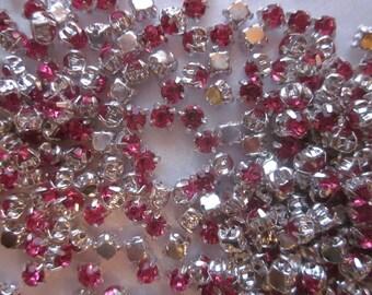 SALE - Fuschia Acrylic Rhinestone Beads 5mm 30 Beads
