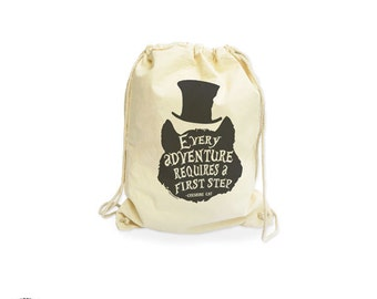 Cheshire cat every adventure requires a first step quote organic Backpack-Cheshire cat gymsack-Alice gym sack-bag-by NATURA PICTA NGS012