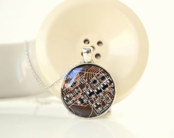 Computer Geek Recycled Electronic Jewelry Nerd Tech Necklace, Gift under 25