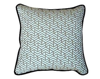 Larsen - Labyrinth  Pillow with Blue Velvet back