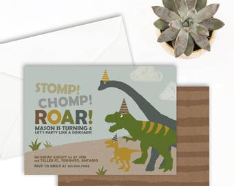 Dinosaur Birthday Invitation - Dinosaur Birthday Party - Dinosaur Invitation - Stomp Chomp Roar - Dinosaur Invitation Printable