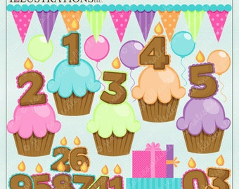 Birthday Candle Cupcakes Cute Digital Clipart for Card Design, Scrapbooking, and Web Design