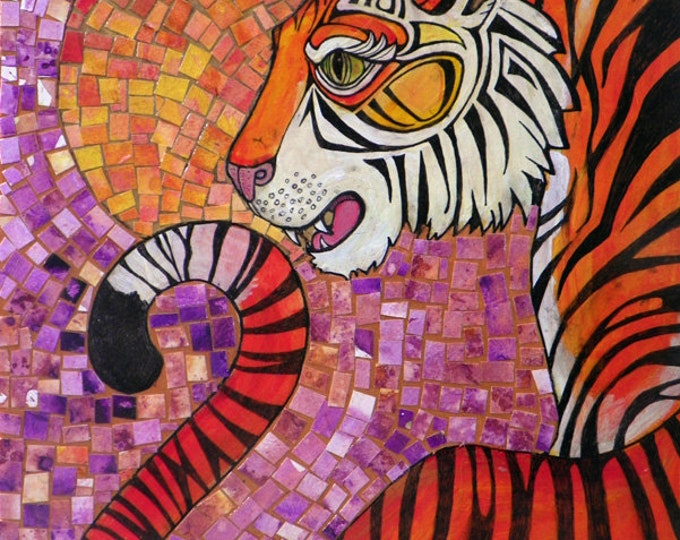 Sunset Tiger Mosaic Animal Art Print by Lynnette Shelley