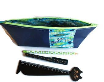 Trousse à crayons pour les élèves ou les maîtresses, en tissu rigide imperméable bleu et coton poissons