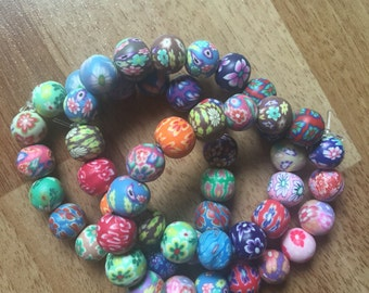 Bright Patterned Clay Bead Bracelet