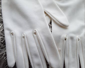 Ladies White Formal Gloves With Tan Trim By ~Kay Fuchs~