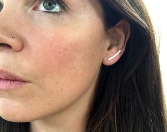 The Mini Minimalist Ear Climbers, Simple Ear Cuff,  Ear Crawlers, Bar Earrings, 14K Gold, Rose Gold Filled, or Sterling Silver