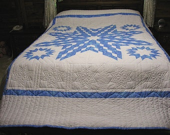 Hand Quilted Quilt, Lone Star Quilt, Queen Size Quilt, Blue And White Quilt, Star Quilt