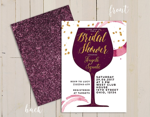 Wine themed bridal shower invitation wine themed invitation
