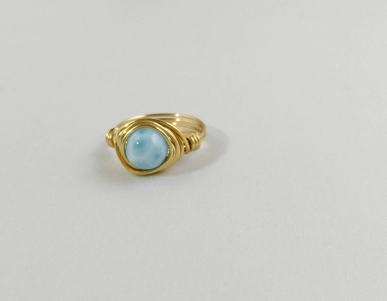 wire jewelry ring wrapped handmade gallery il listing photo beaded larimar gemstone fullxfull rings kjfr