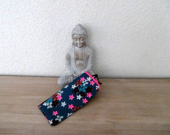 Fabric glasses case Japanese flowers