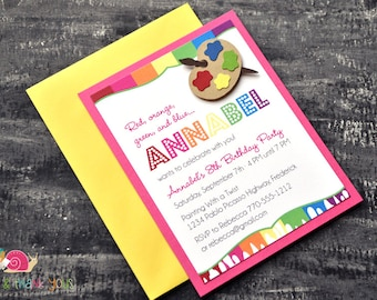 Rainbow Painting Party Invitations · A2 LAYERED · Rainbow Paint Drip · Birthday Party | Artist | Painter's Palette