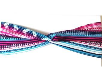 Magenta Navajo Print Cotton Turban Headband