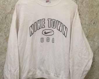Vintage 90s Nike Sweaters Grey Label, Spell Out, Made in USA Size L Rare