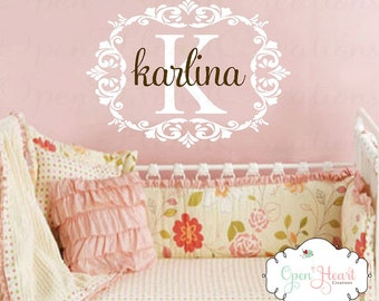Shabby Chic Name Wall Decal with Elegant Accents - Baby Nursery Girl Boy Personalized Mongram Vinyl Wall Decal 22H x 32W FN0415