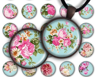75% OFF SALE Digital Collage Sheet Pink Roses 1inch Round 30mm 25mm Circle Pendant Printable Download PC037 Instant Download Jewelry Making