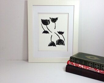 Floral black and white modern abstract linocut 9x12 handprinted